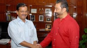 Kamal Haasan meets Delhi CM Arvind Kejriwal