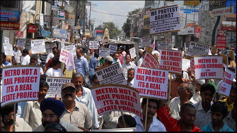 Sultan Bazar Market Traders Protest against L&T Metro Rail Project