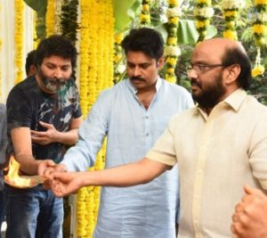 Pawan kalyan and Trivikram Movie Opening puja Album